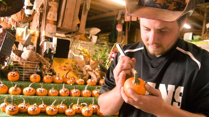 """Matt Pooler paints faces on one of many small pumpkins at Dave's Veggies in Homer on Monday afternoon while preparing for this weekend's Great Cortland Pumpkinfest. """"I can deal with a fall just like this,"""" he said about the recent stretch of pleasant weather."""