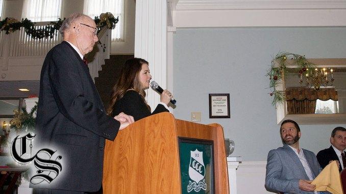Kelly Tobin giving a short speech