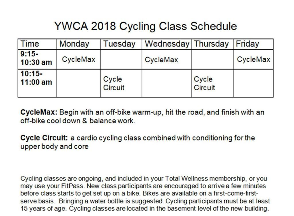 Fall 2018 Cycling schedule