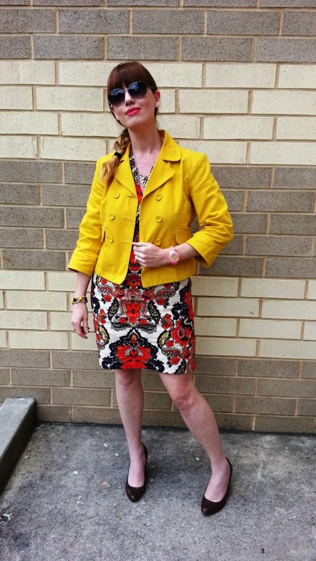 Jacket: Old Navy Dress: JCREW Shoes: MaxStudio Sunglasses: Fossil Bracelet/Necklace: JCREW