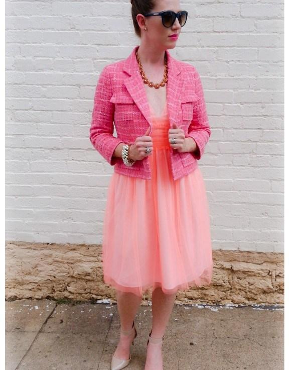 Dress and Necklace: JCREW Jacket: Kate Spade NY Shoes: MIA Sunnies: Franco Sarto