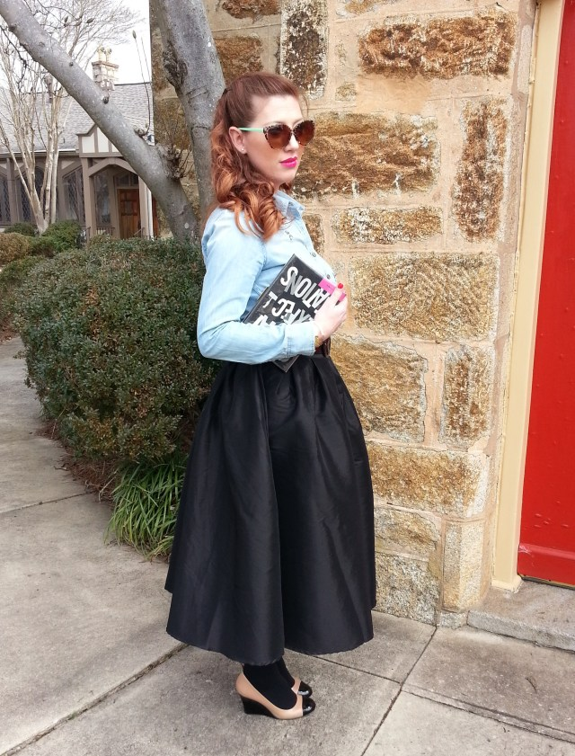 Shirt: Crown & Ivy Skirt: Choices Heels: Kate Spade Bag: Kate Spade Sunnies: Franco Sarto