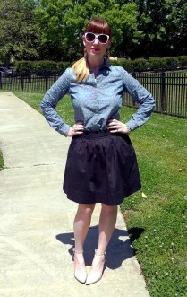 Shirt: Worthington - JC Penney Skirt: Banana Republic Shoes: MIA Earrings: Bealles