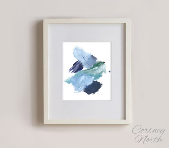 Navy and Teal Composition, blue and green abstract art, 8x10 Frame