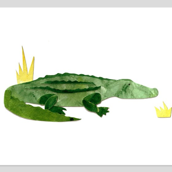Basking Alligator 8x10 Assembled Watercolor Print by Cortney North