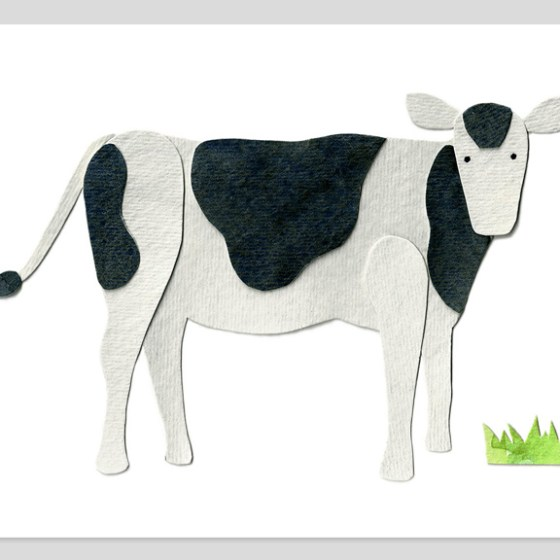 Cow Assembled Watercolor Print by Cortney North