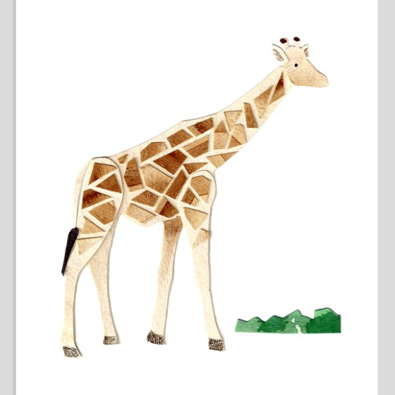 Giraffe Assembled Watercolor Painting by Cortney North