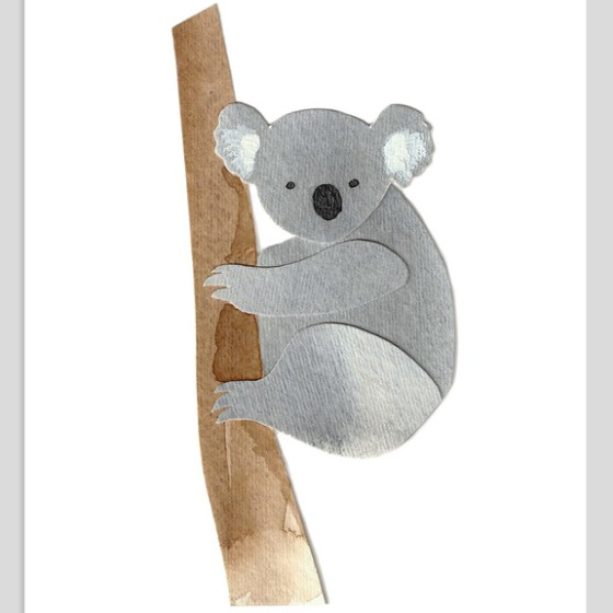Koala Assembled Watercolor Print by Cortney North
