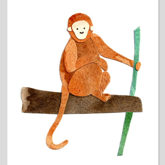 Monkey Assembled Watercolor Painting by Cortney North