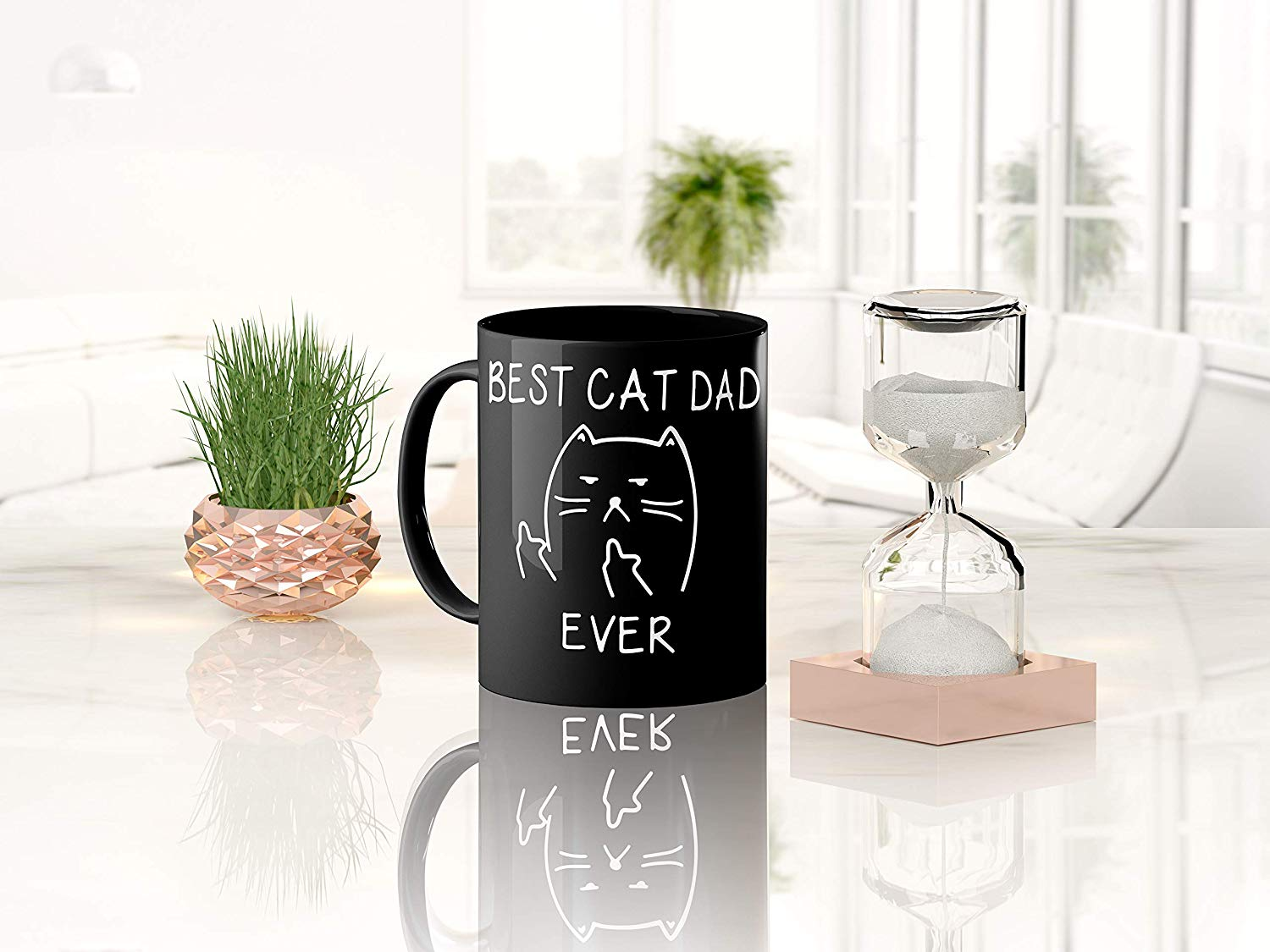 Best Cat Dad Ever Funny Lover Gifts Middle Finger Black Coffee Mug Unique Birthday Gift For