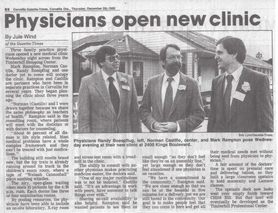 Newspaper clipping showing clinic opening