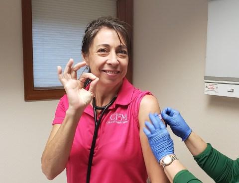Dr. Gamelin gets a flu shot