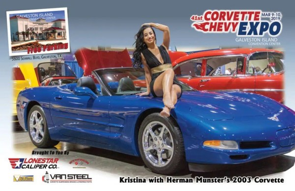 Vette Vues Magazine Racy Vues October: Kristina with Herman Munster's 2003 Corvette at the Corvette Chevy Expo in Galveston Texas.