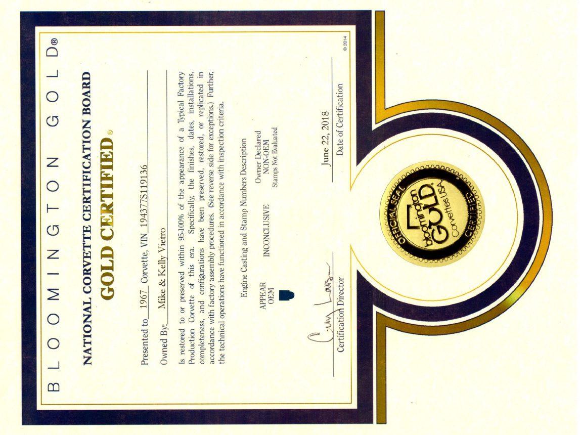 1967 yellow corvette l88 bloomington gold certificate