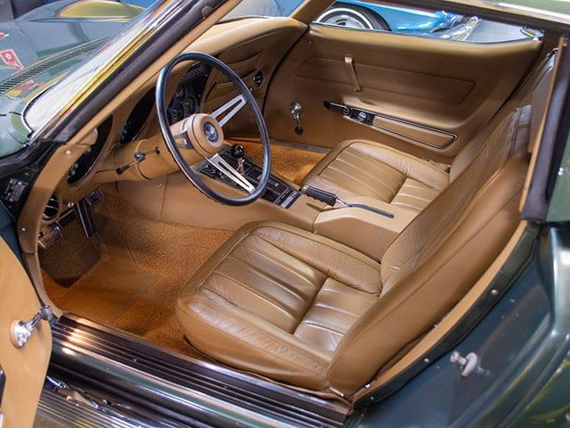1969 green corvette l71 coupe interior