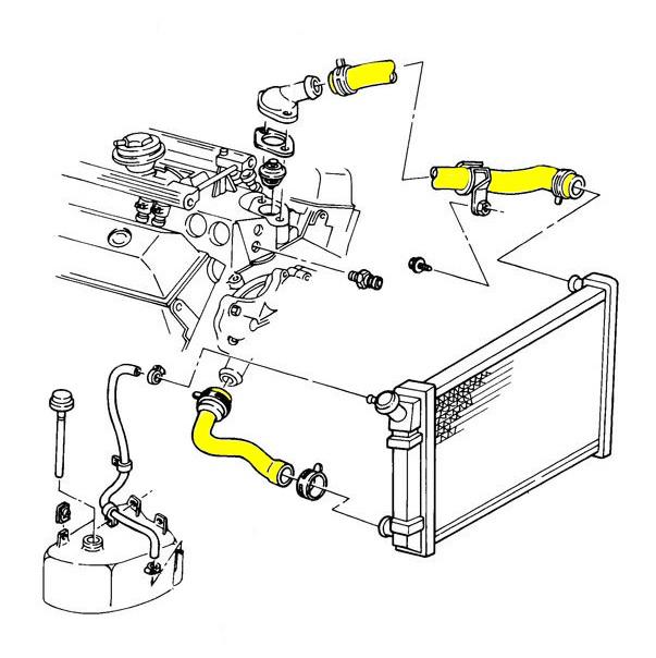 1987 Corvette Engine Cooling System Rubber Hose Set [Coupe