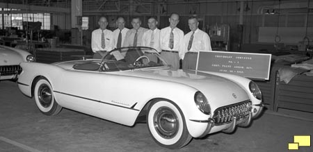 Sign reads: Chevrolet Corvette No. -1  Chev. Flint Assem. Div. June, 30 - 1953