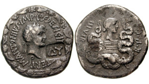 Antony and his wife Octavia, sister of Caesar Octavian, on a coin (source: Classical Numismatic Group, Inc. http://www.cngcoins.com, CC BY-SA 3.0 license).
