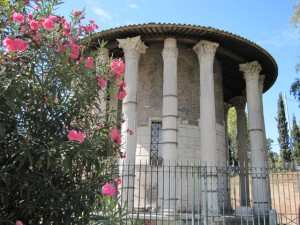 The temple of Hercules. Note that one of the columns is missing.