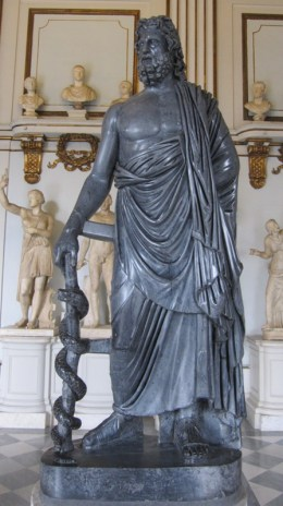 Aesculapius, the Roman god of healing (Capitoline Museums, Rome). There was little he could do for the Romans when they lost their fleets in 249 BCE.