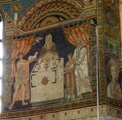 Mosaic on the right wall.