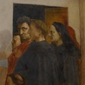 From left to right: Masolino, Masaccio, Leon Battista Alberti and Filippo Brunelleschi. They can be found on the left wall, in the scene that shows The Raising of the Son of Theophilus and Saint Peter Enthroned.