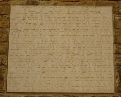 Slab about the founding of the church.