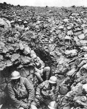 Franse soldaten bij Verdun.