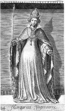 Gravin Margaretha, opnieuw met de titel (dit keer correct gespeld) 'Imperatrix' (Vosmeer, Michiel Principes Hollandiae et Zelandiae, Domini Frisiae. Cum genuinis ipsorum iconibus ...', Antwerpen, 1578).