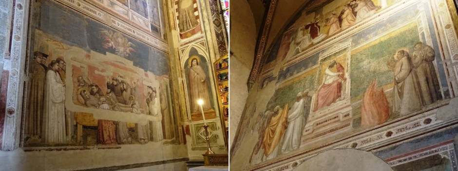 Two scenes in the Bardi Chapel, left the Death of Saint Franciscus, right the Test of Fire.