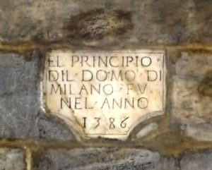 Plaque commemorating the founding of the Duomo.