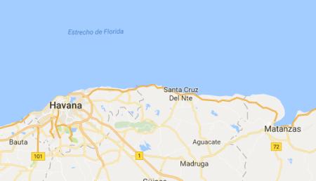 Cuba, met rechts de Baai van Matanzas en rechts Havana (copyright Google, INEGI).