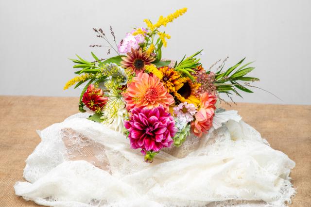 Oregon coast wedding flowers, bridal bouquet