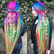 woman's super long rainbow