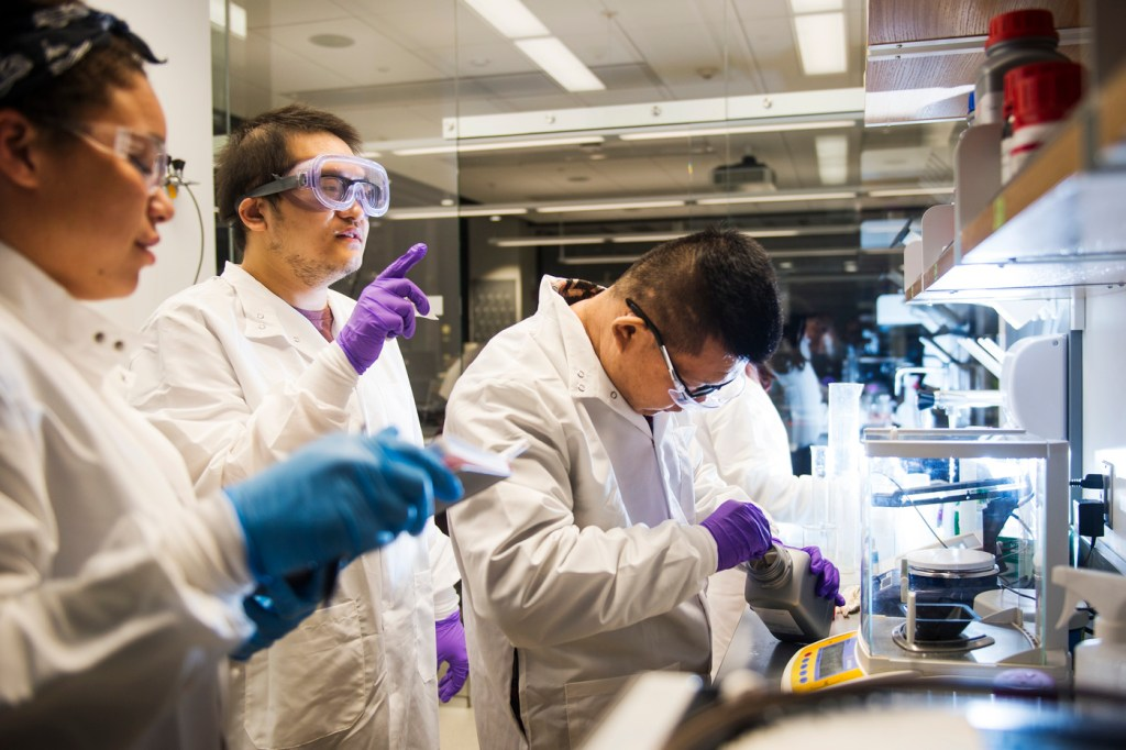 Several students work at a bench in a lab.