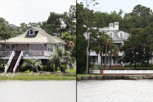 These are two views of shorelines in Mobile Bay in Alabama. At left, a natural shoreline is seen, and at right, a man-made vertical wall is seen. Photos taken by Steven Scyphers.