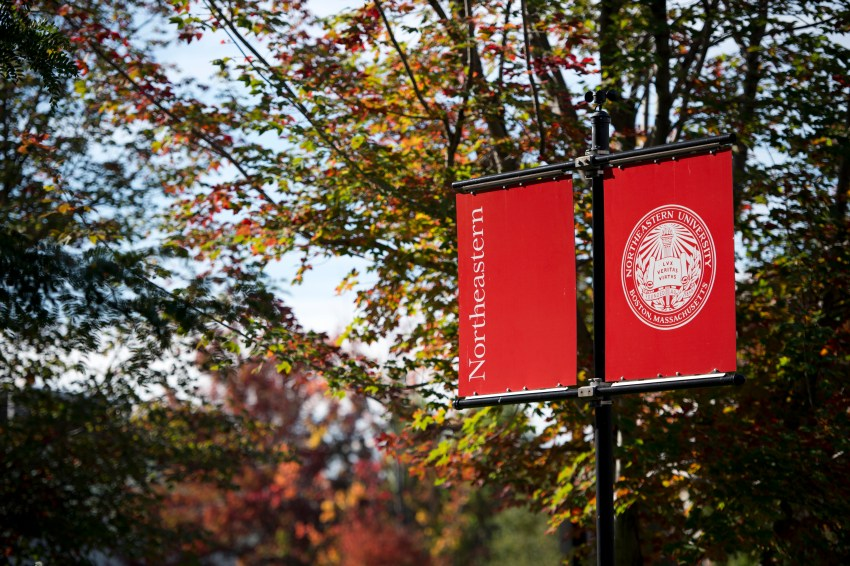 fall flags campus northeastern