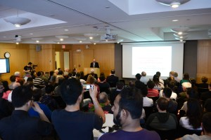 Dr. Barry Karger addresses a packed room during his April 20, 2016 Retirement Colloquium.