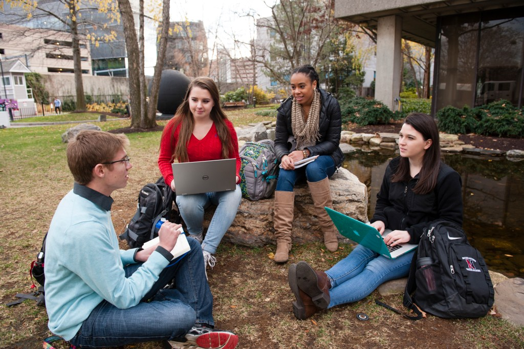 Three female and one male students sit by the koi pond working