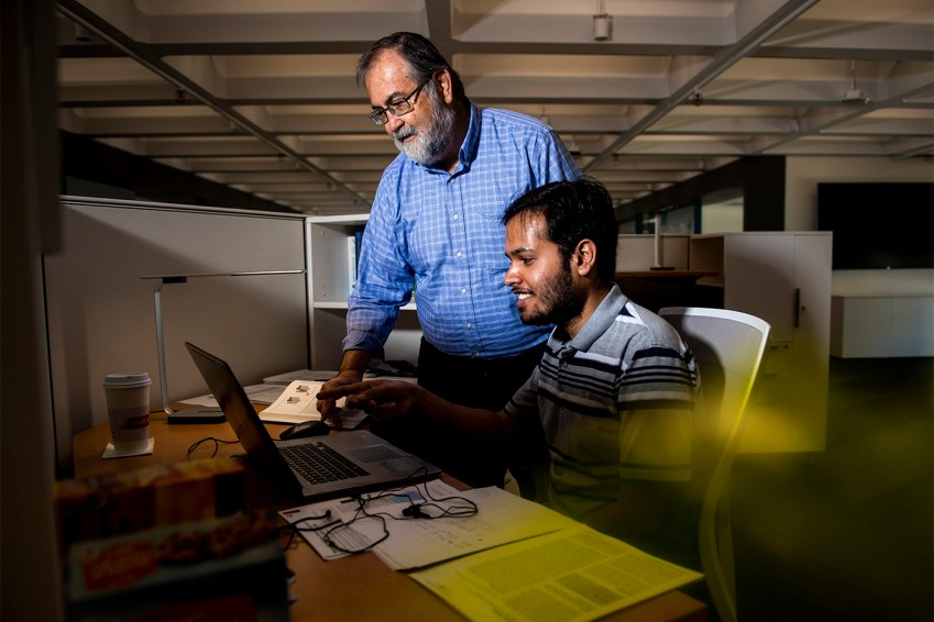 08/16/19 - BOSTON, MA. - Herbert Levine, University Distinguished professor in Physics, works with graduate student Shubham Tripathi in the new Center for the Physics Underlying Mammalian Biology and Complex Diseases on August 16, 2019. Photo by Ruby Wallau/Northeastern University