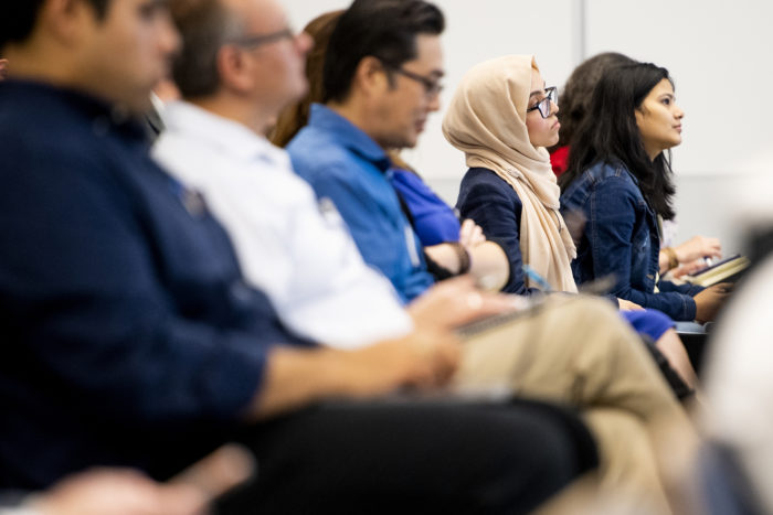 Attendees listen during the Saving Patient Lives: The Role of Biomanufacturing and Bioanalytics symposium held in Building V on NortheasternÕs Innovation Campus in Burlington, Massachusetts on Sept. 10, 2019. Photo by Matthew Modoono/Northeastern University