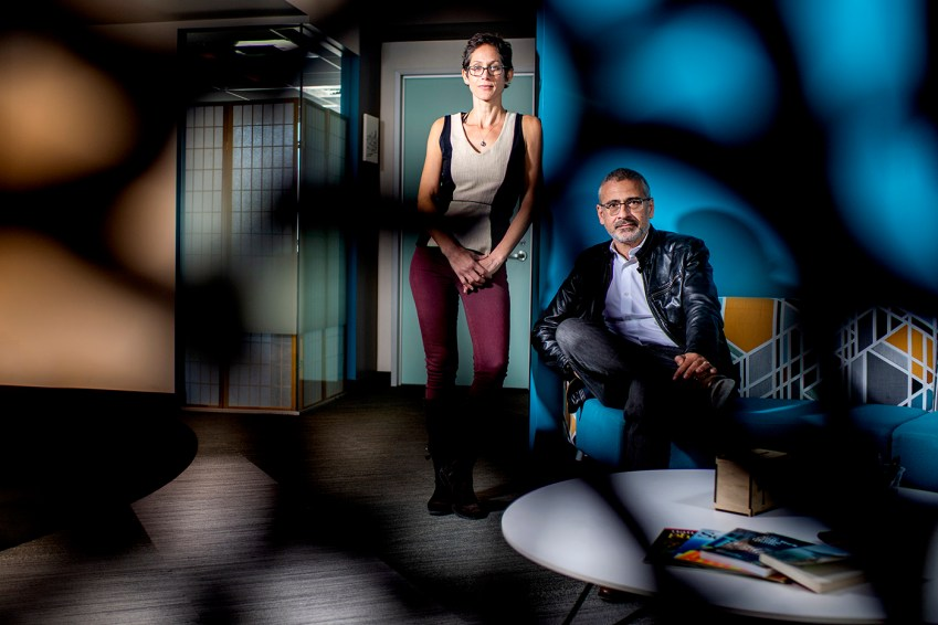 09/19/19 - BOSTON, MA. - Alessandro Vespignani and Kate Coronges pose for a portrait at the Network Science Institute at 177 Huntington Ave. on Sept. 19, 2019. The pair just received a $2M NSF grant aimed at Accelerating Research through International Network-to-Network Collaborations. This effort involves 6 Institutions (four of them international) to build an international community focused around the exploration of network science. Photo by Matthew Modoono/Northeastern University