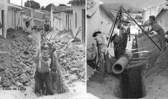 OBRAS INSTALANDO TUBERIA AGUA 1951