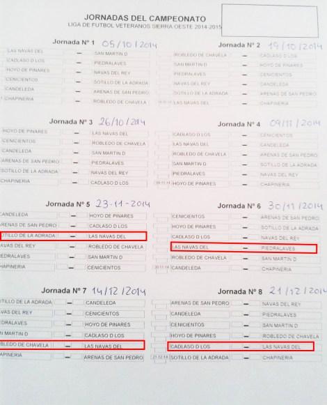 Calendario de los partidos restantes en este año Haz un clic para verlo a tamaño real