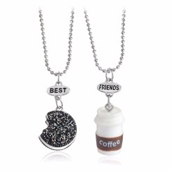 2pcs-lot-Best-Friends-BFF-font-b-necklace-b-font-bead-chain-fastfood-coffee-glitter-font