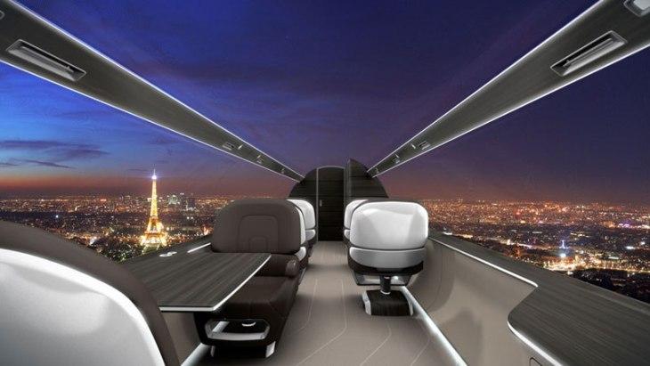 Avión futurista con vistas panorámicas