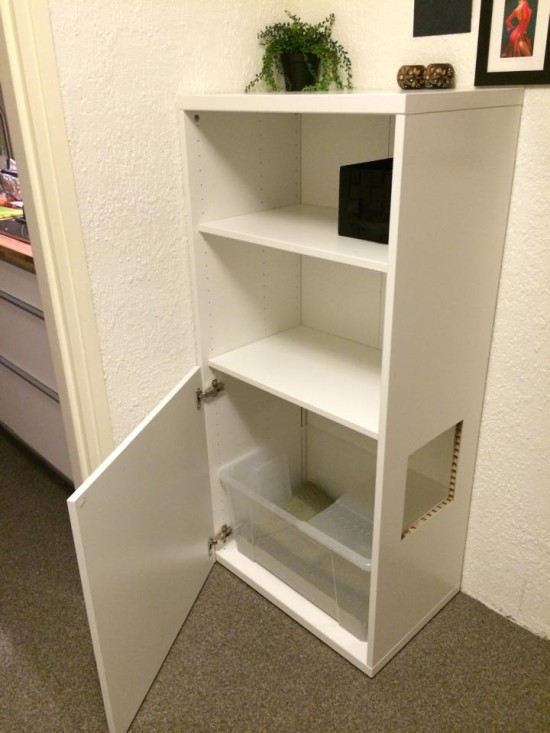 litter box section of cabinet