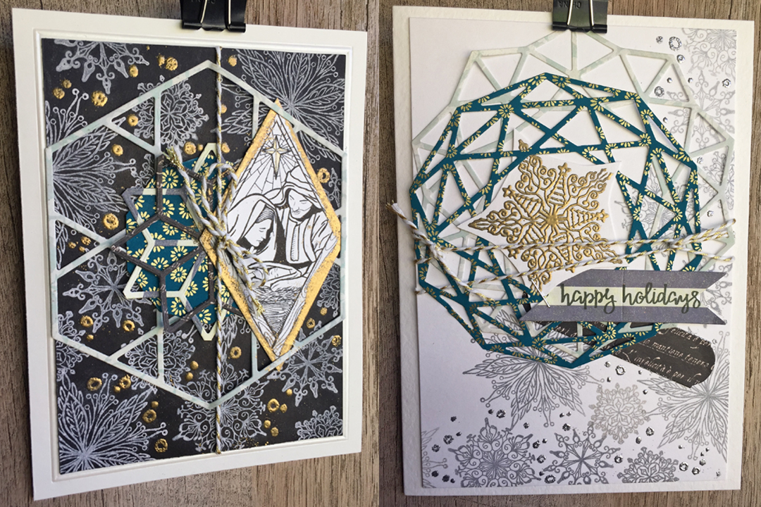 Layered and Stamped Geometric Christmas Cards - Spellbinders