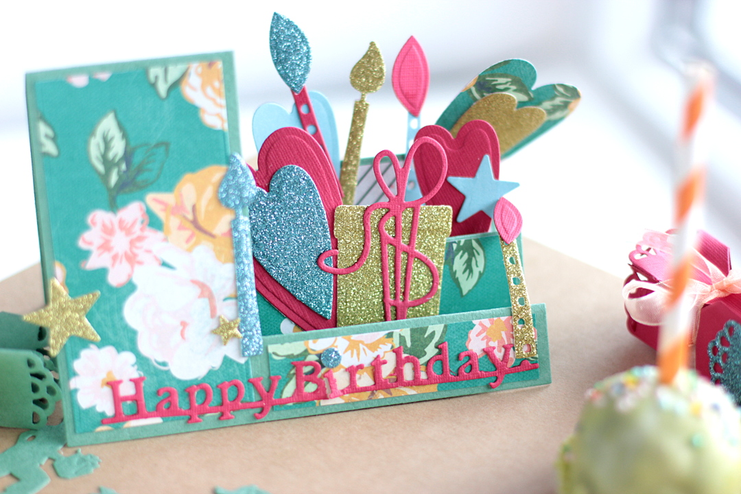 Creating a Sweet Birthday Party Ensemble by Elena Olinevich PopUp Card CloseUp