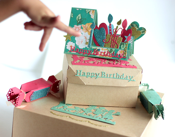 Creating a Sweet Birthday Party Ensemble by Elena Olinevich PopUp Card and Cake Boxes